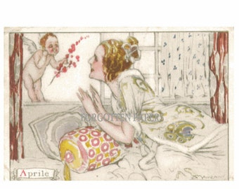 Artist Signed MAUZAN - Vintage Illustrated Art Nouveau POSTCARD - Titled APRIL