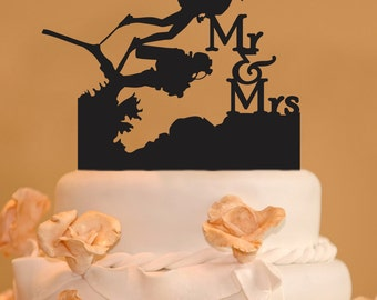 Scuba Divers wedding cake topper - Mr. and Mrs. scuba divers Wedding Cake Topper - Scuba diving cake topper
