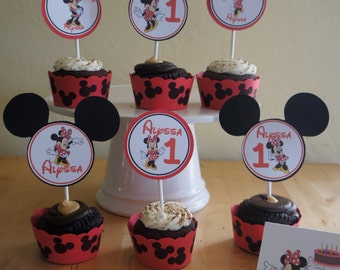 Minnie Mouse (Red) Cupcake Toppers