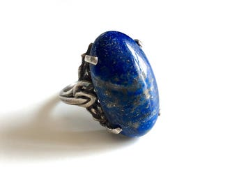 Gorgeous Antique Vintage Lapis Sterling Silver Statement Solitaire Ring