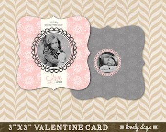 "Valentine card Template 3x3"" Boutique shape for Photographers INSTANT DOWNLOAD"