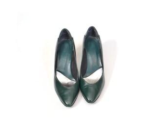SALE - 80s Green Shoes  6 Pump / 80s DARK Green Shoes / Women Shoes  / Vintage Accessories Shoes / Size 6