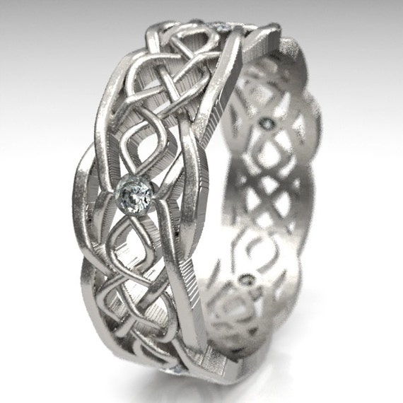 Celtic Wedding Ring With Cut-Through Infinity Symbol Pattern With Moissanite Stones in Sterling Silver, Made in Your Size CR-1049