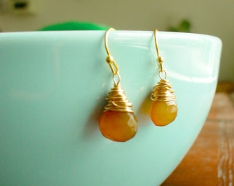Gold earrings, faceted Honey Amber glass teardrop briolettes,post earrings,handmade jewelry