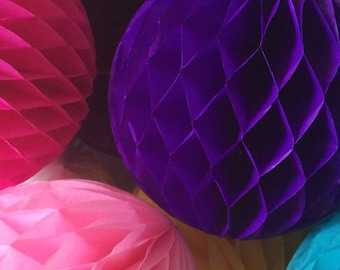 Purple 16 Inch Honeycomb Tissue Paper Balls - Paper Party Decor Decoration Supplies