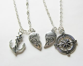 2 Best Friends Heart Anchor And Compass Best Friends BFF Necklaces