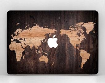 MacBook map atlas world wood Mac 12 13 15 11 inch Pro Retina Air skin decal A1466 A1706 A1707 A1502 2016 2017 2015 2012 A1398 A1534 keyboard