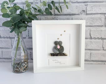 Framed Pebble Art, Mother Pebble Art , Mothers Gift, Friends Pebble Picture, Mother's Day Gift, Mothers Day Gift personalised, Birthday Gift