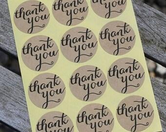 Brown Kraft Thank You Seals  Wedding Event Bonbonniere Sticker