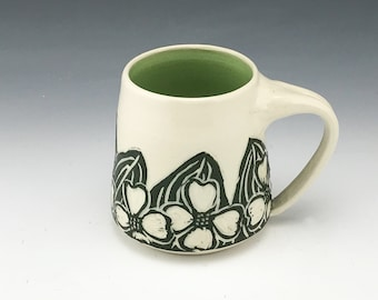 Sgraffito Dogwood Pottery Mug in Green and White