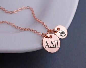 Alpha Delta Pi Necklace, Personalized Alpha Delta Pi Jewelry, Custom Sorority Necklace, Greek Letters Sorority Jewelry