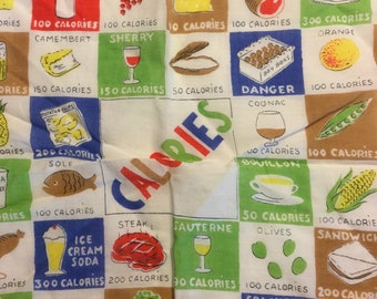 Vintage Handkerchief Calories Kitsch Domestic Calorie Counting Humorous 1950s