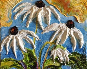 White Daisie 6x6 Inch deep Original Impasto Oil Painting by Paris Wyatt Llanso