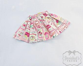 Pink Lemonade Skirt - Girl Twirl Skirt - Infant Pink Strawberry - Tween Skirt - Pink Summer Skirt - Toddler Cotton Fabric 6 month to Girl 16