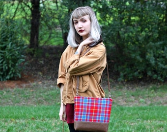 Red Plaid Zipper Bag with Faux Leather Strap