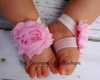 Light Pink Baby Barefoot Sandals - Newborn Baby Barefoot Sandals - Newborn Clothing  - Baby Clothing Photography Prop Toddler Sandals