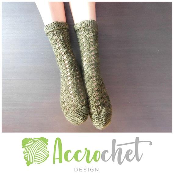 Wildlings - Crochet Sock Pattern - Lacy Sock Crochet Pattern - Green ...