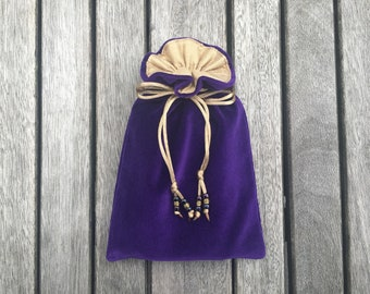 Purple Velvet Tarot / Oracle Bag Lined With Antique Gold Dupion Silk