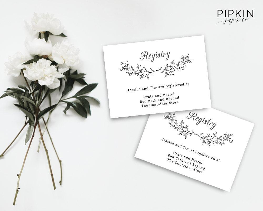 free wedding registry card template