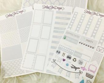 Fade to Grey Weekly Sticker Kit | Erin Condren & Plum Paper Planner