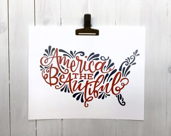 Fourth of July Decor - America the Beautiful Handlettering - Instant Download