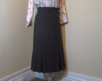 50s vintage pencil skirt Vintage Brown wool pleated skirt 50s side zipper brown pencil skirt S