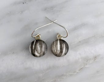 Ivory Black Circle - Sterling Silver Watercolor Earrings
