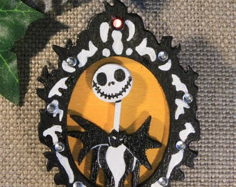 "Wooden brooch ""Jack skellington"" the nightmare before Christmas of Mr. Jack, halloween, fancy"