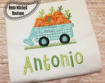 Easter Carrot Wagon with grass applique embroidery design