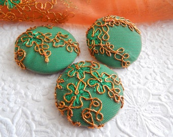 3 green copper embroidered fabric buttons, 1 7/8 inches, 1.9 inches, 4.7 cm, 48.26 mm, size 75 buttons