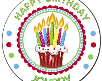 Personalized Birthday Cake Design Round Glossy Labels for Party Favors, Gift Bags, Envelope Seals, Address Labels - Set of 100