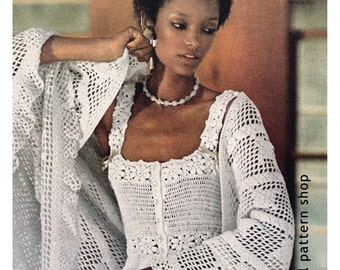 Crochet Top Pattern 1970s Vintage Delicate Camisole Top Crochet Pattern Flower Motif & Peplum PDF Instant Download Womens Size 6 to 14 - C25