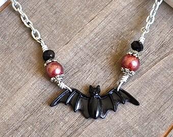 Large Black Bat Necklace - Gothic Necklace - Vampire Jewelry - Halloween Necklace - Punk Necklace - Psychobilly
