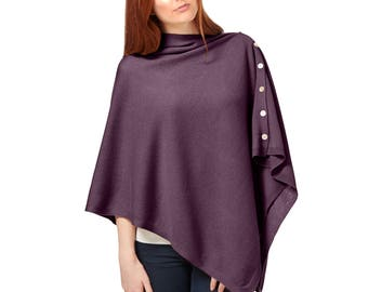 Cashmere Blend  Poncho Jumper Wrap Ladies One Size Winter Spring Summer - Navy Blue