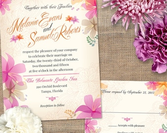 Soft Orchids Floral Tropical Wedding Invitation and Reply Card; Printable, Evite or Printed (US Only) Invitations