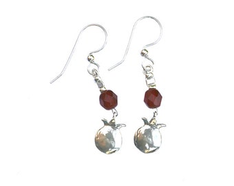 Sterling Silver Earrings with Sterling Silver pomegranate pendants and single crystal bead - er009