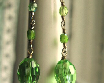 Emerald Green Drop Earrings with Glass Beads