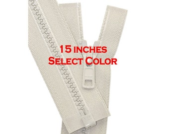 15 inch Vislon Jacket Zipper YKK 5 Molded Plastic Medium Weight  Separating - Select Color