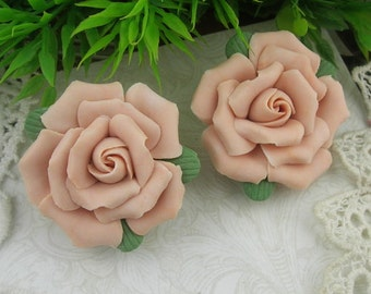 2 pcs - 34mm Ceramic Rose Flower,,Peach