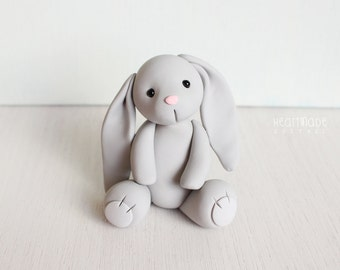 Gray Bunny Rabbit - bunny clay cake topper and keepsake - baby shower cake topper, birthday bunny - figurines by Heartmade Cottage