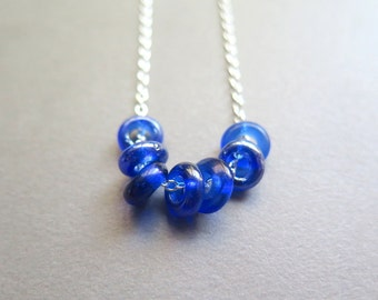 Sample Sale. blue necklace. simple glass jewelry. silver cable chain. made in Canada