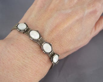 Vintage Sterling Mother of Pearl Multiple Strand Chain Bracelet