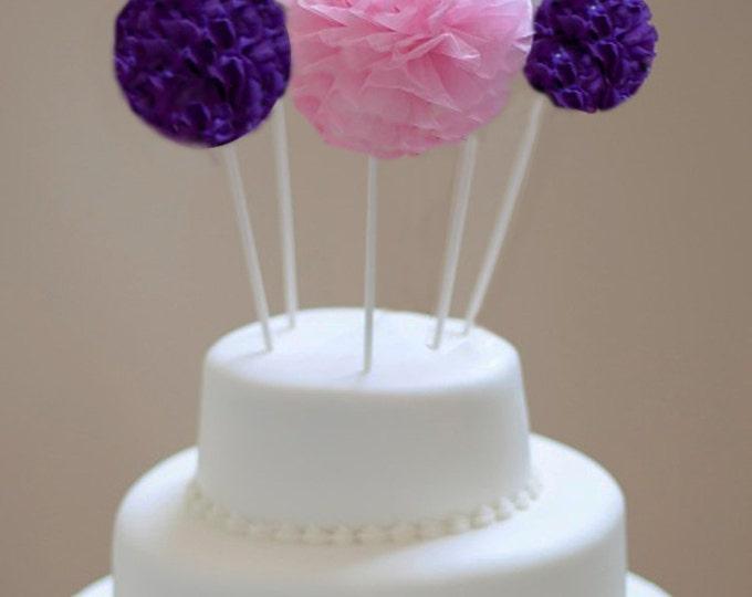Pom cake topper | Tissue paper pom poms | DIY wedding | Birthday cake topper | Shower cake topper