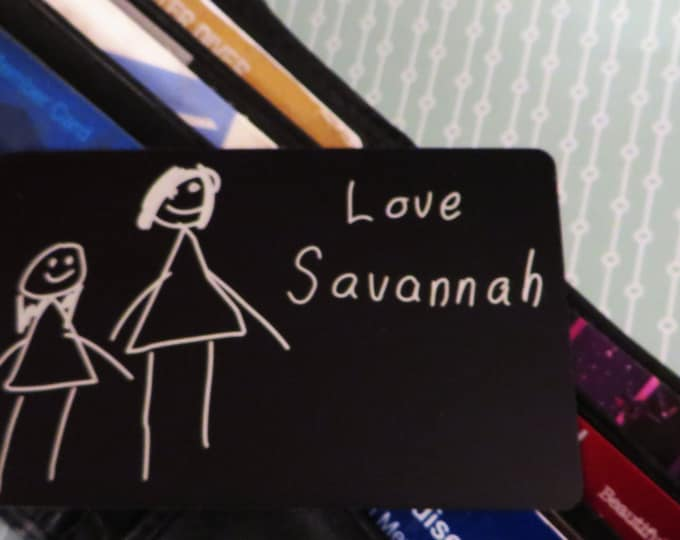 Your Child's Picture Engraved Wallet Insert Personalized and Custom Wallet Card Simple drawings etched so you can keep it with you!
