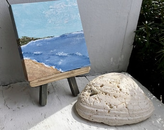 Mini Ocean Painting with Driftwood Accent & Easel , Coastal Art , Beach Decoration