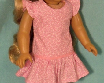 18 inch  Doll Long Waisted Pink Dress