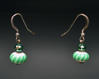 Green and White Lampwork Bead Earrings