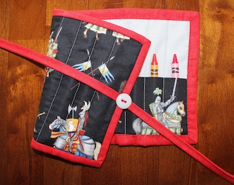 Knight Crayon Roll Up, Crayon Holder, Medievil Crayon Holder, Knight Crayon Holder, Crayon Roll, Crayon Tote, Knights, Boy Crayon Roll