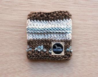 Small | Merino Handmade Dog Scarf | Chocolate & Sky Blue
