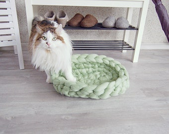 Chunky wool Cat Bed mint - chunky Dog Bed - chunky pet bed - dog furniture - chunky pet basket - cat furniture - merino wool - arm knit wool